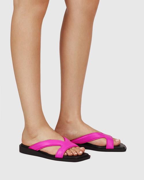 Akira Siren Pink Leather Slide