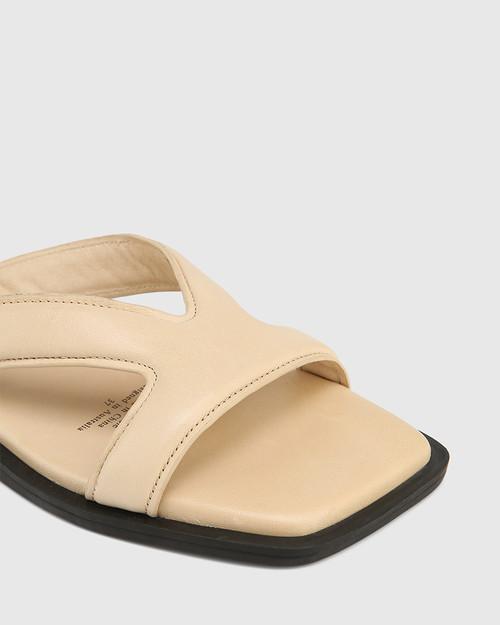 Akira Beige Leather Slide