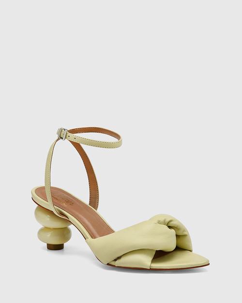 Visser Mint Green Leather Round Sculptured Heel Sandal
