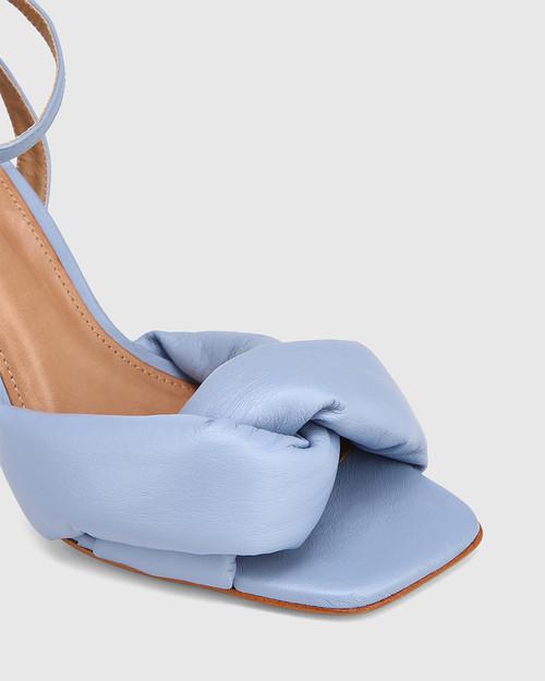 Valko Blue Leather Sculptured Heel Sandal