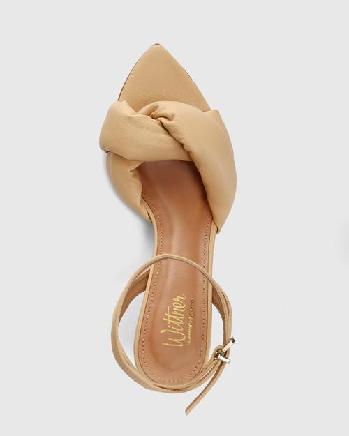 Visser Sand Leather Round Sculptured Heel Sandal