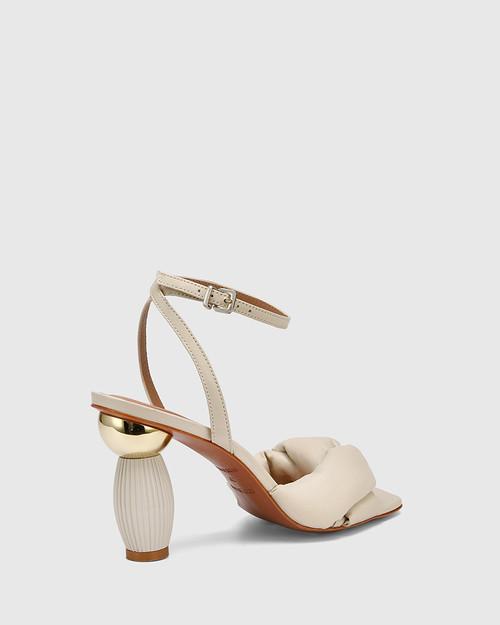 Valko Bone Leather Sculptured Heel Sandal