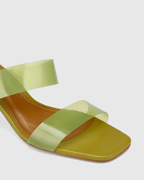 Vitto Pistachio Vinylite With Rattan Woven Heel Sandal