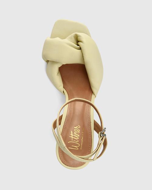 Valko Mint Green Leather Sculptured Heel Sandal