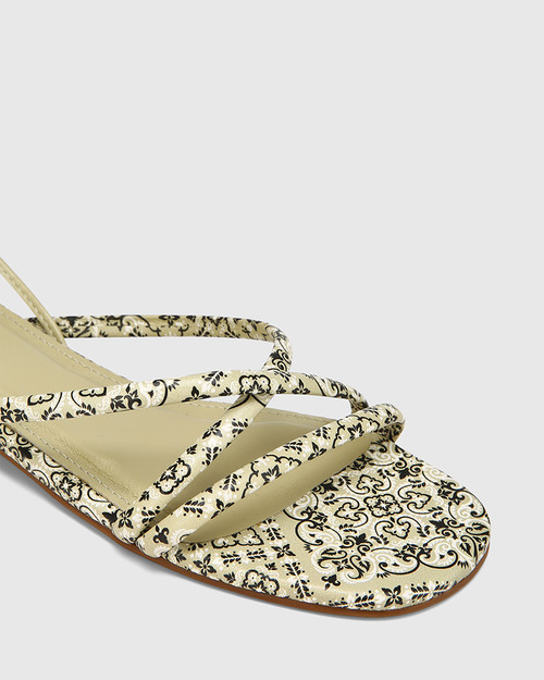 Visita Paisley Moss Leather Flat Strappy Sandal
