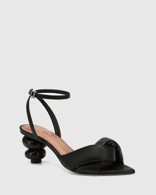 Visser Black Leather Round Sculptured Heel Sandal