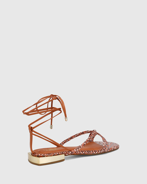 Visita Paisley Terracotta Leather Flat Strappy Sandal