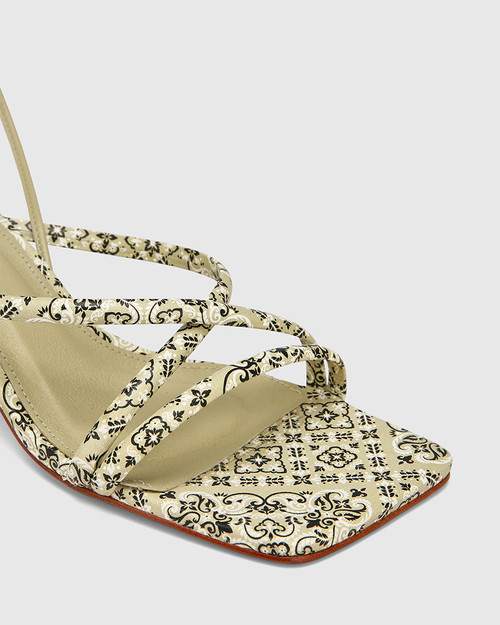 Vela Paisley Moss Leather Strappy Sandal