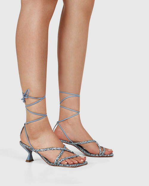 Vela Paisley Blue Leather Strappy Sandal