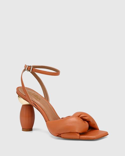 Valko Terracotta Leather Sculptured Heel Sandal