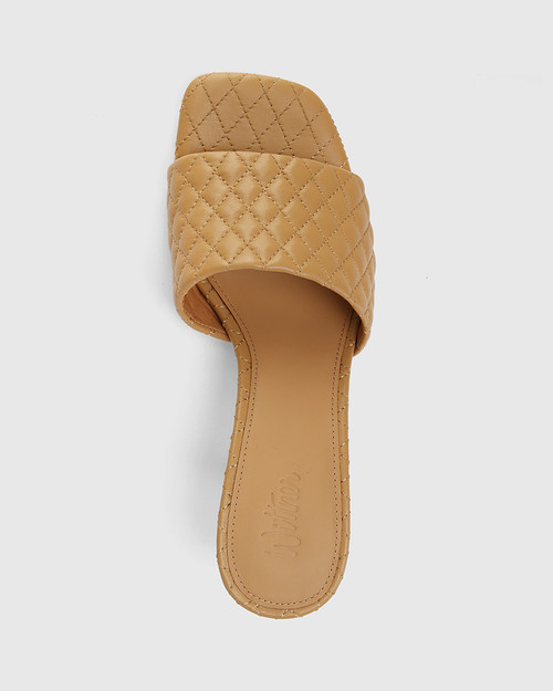 Cloud Camel Quilted Leather Stiletto Heel Slide