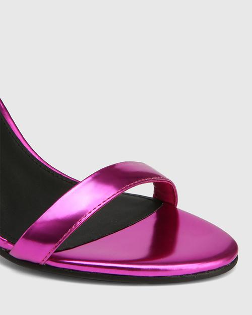 Raven Electric Magenta Metallic Open Toe Block Heel