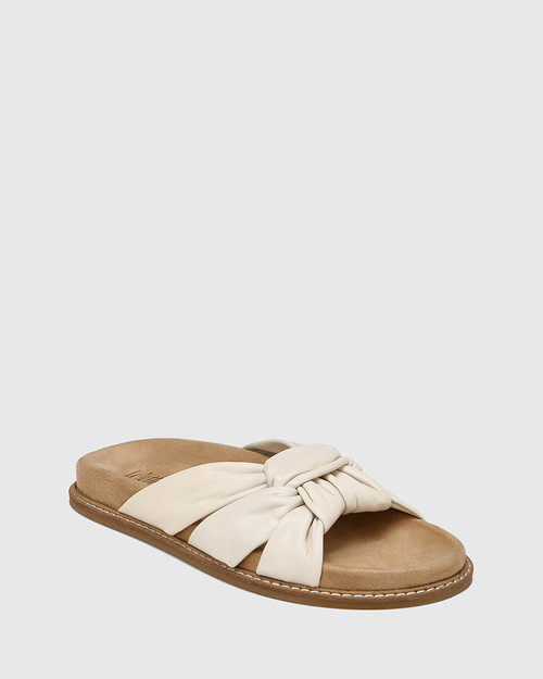 Zella White Knotted Leather Slide