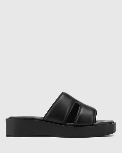 Aries Black Leather Slide