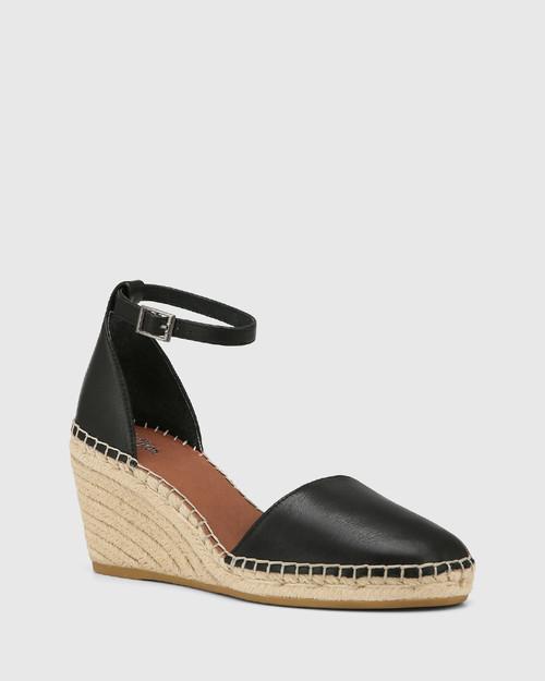 Zaylee Black Leather Wedge Heel Espadrille