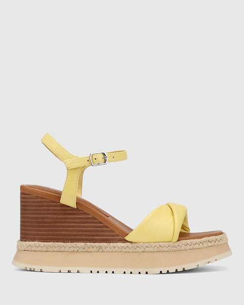 Yvonne Daffodil Yellow Leather Wedge Sandal
