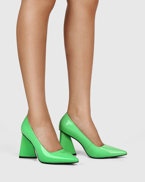 Humility Kermit Green Patent Leather Angular Heel Pump