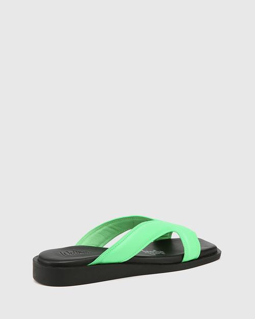Akira Kermit Green Leather Slide