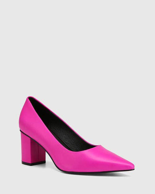 Penrose Siren Pink Leather Block Heel Pump
