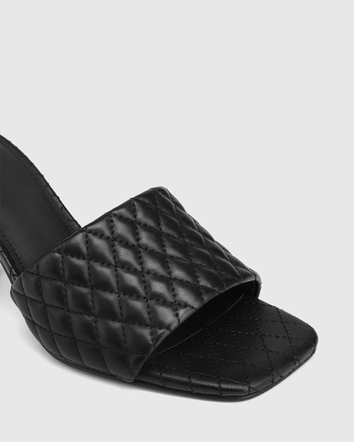 Cloud Black Quilted Leather Stiletto Heel Slide