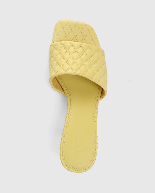 Cloud Yellow Quilted Leather Stiletto Heel Slide