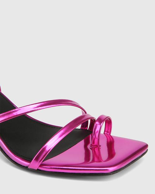 Kaiya Electric Magenta Metallic Strappy Sculptured Heel Sandal