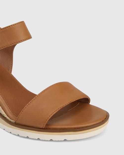Glisten Tan Leather Espadrille Wedge Sandal