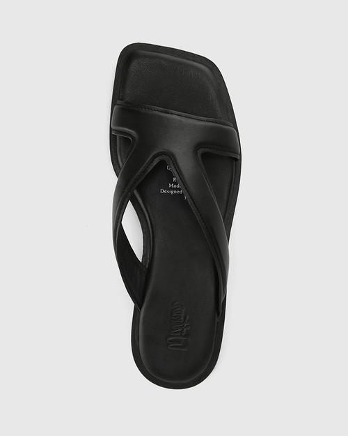 Akira Black Leather Slide & Wittner & Wittner Shoes