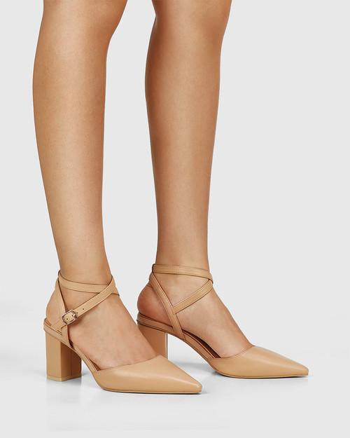 Pollen Sand Leather Block Heel Pump & Wittner & Wittner Shoes