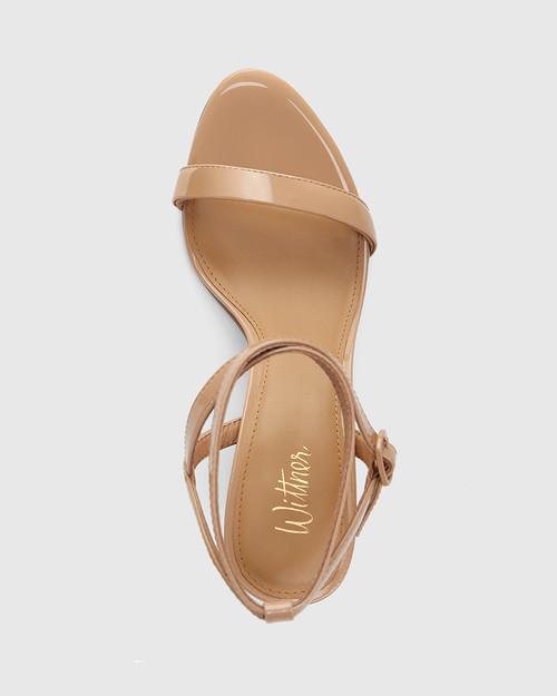 Raven Sunkissed Tan Patent Leather Open Toe Block Heel & Wittner & Wittner Shoes