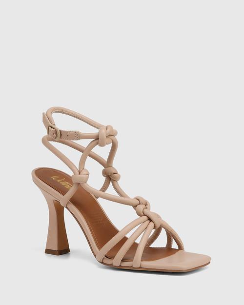 Roxanne New Flesh Leather Flared Heel Strappy Sandal