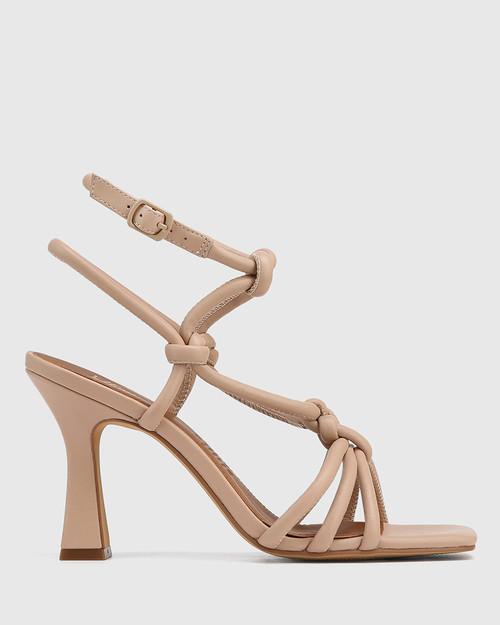 Roxanne New Flesh Leather Flared Heel Strappy Sandal & Wittner & Wittner Shoes