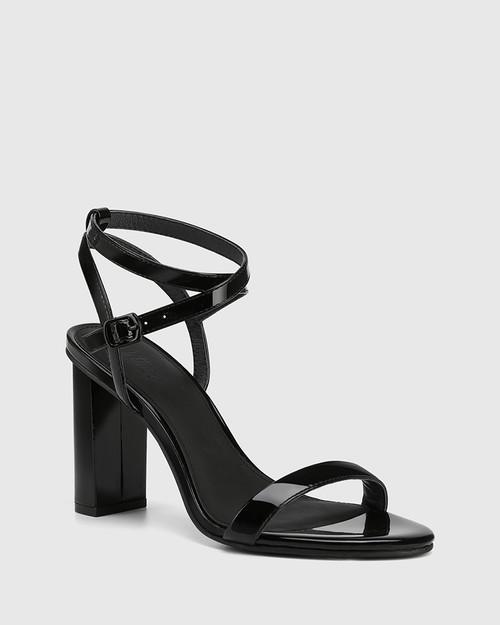 Raven Black Patent Leather Open Toe Block Heel