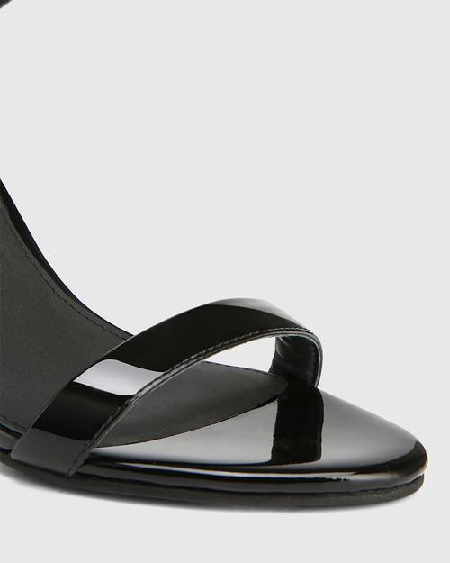 Raven Black Patent Leather Open Toe Block Heel & Wittner & Wittner Shoes