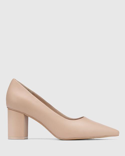 Penrose New Flesh Leather Block Heel Pump & Wittner & Wittner Shoes