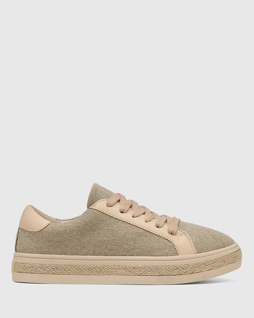 Benni Beige Canvas Sneaker & Wittner & Wittner Shoes