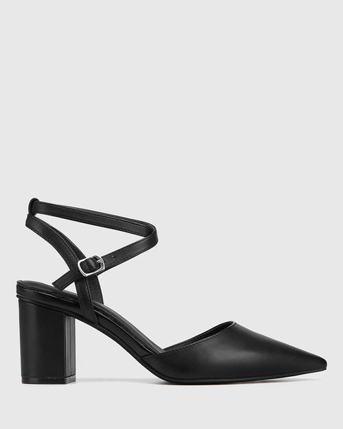 Pollen Black Leather Block Heel Pump & Wittner & Wittner Shoes