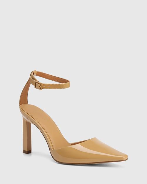 Hochi Camel Patent Leather Stiletto Heel Pump