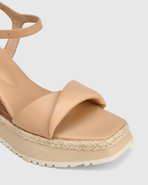 Yvonne Sand Leather Wedge Sandal & Wittner & Wittner Shoes