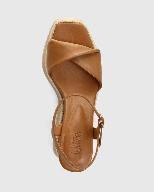 Yvonne Golden Tan Leather Wedge Sandal & Wittner & Wittner Shoes