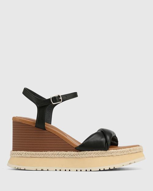 Yvonne Black Leather Wedge Sandal & Wittner & Wittner Shoes