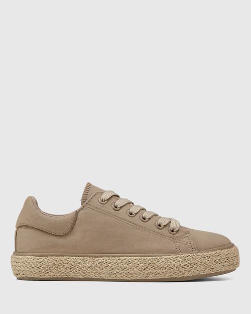 Ohara Camel Canvas Lace Up Espadrille Sneaker & Wittner & Wittner Shoes