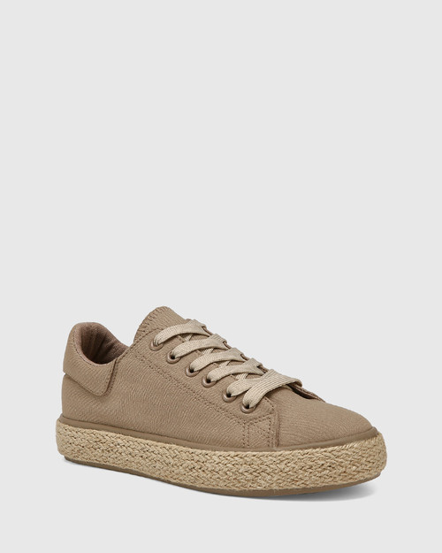 Ohara Camel Canvas Lace Up Espadrille Sneaker