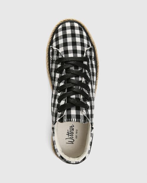 Ohara Black Gingham Lace Up Espadrille Sneaker & Wittner & Wittner Shoes
