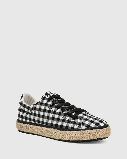 Ohara Black Gingham Lace Up Espadrille Sneaker
