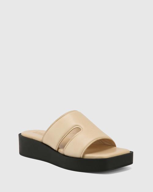 Aries Beige Leather Slide