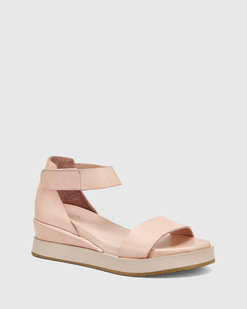 Zaylia Nude Leather Ankle Strap Wedge