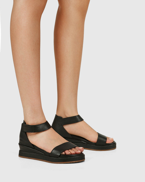 Zaylia Black Leather Ankle Strap Wedge & Wittner & Wittner Shoes
