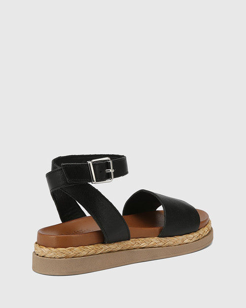 Zoeey Black Leather Ankle Strap Sandal & Wittner & Wittner Shoes