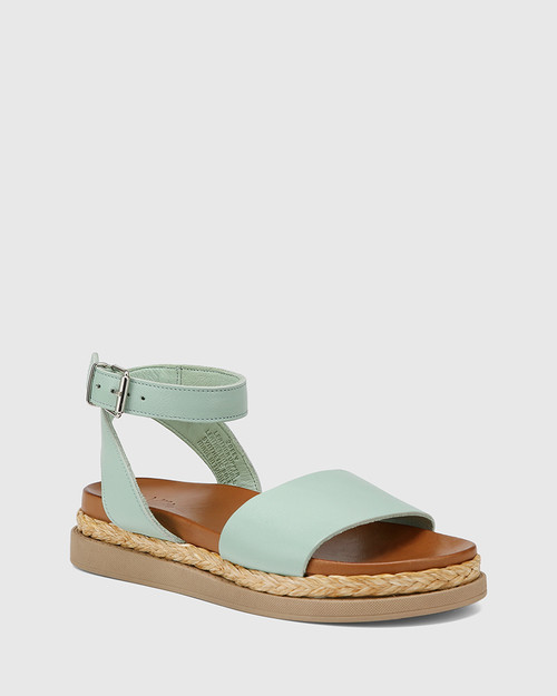 Zoeey Aqua Green Leather Ankle Strap Sandal